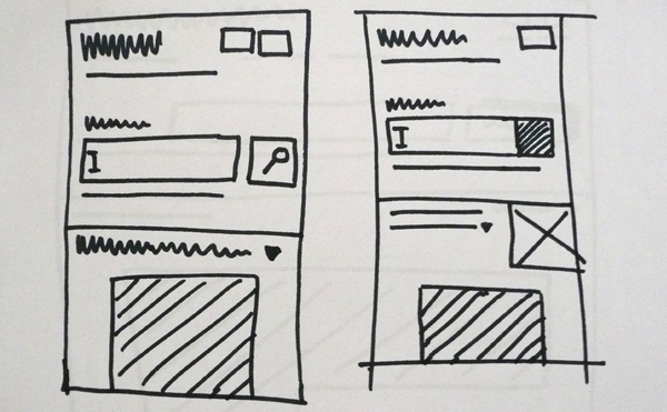 Wireframes of the mobile view
