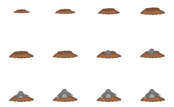 Animation sprites of the appearing mole